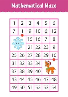 Labyrinthe rectangle mathématique. jeu pour les enfants. labyrinthe de nombres.