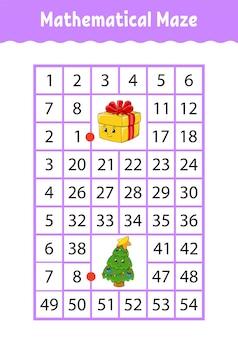 Labyrinthe rectangle mathématique. jeu pour les enfants.