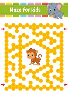 Labyrinthe avec singe et éléphant