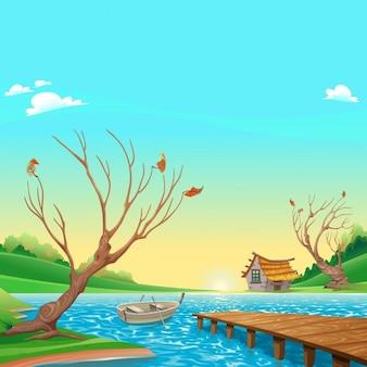 Lac avec bateau dessin animé et illustration vectorielle