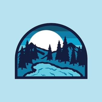 Lac camp randonnée montagne nature patch illustration pin
