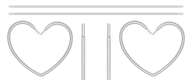 Lacets blancs, cordages de chaussures en ligne et en forme de coeur.
