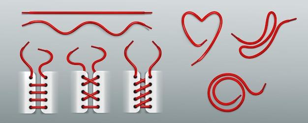 Lacets rouges, laçage par des cordes dans des baskets de différentes manières