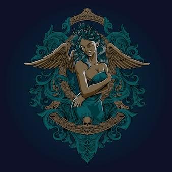 Lady Angel Vecteur Premium