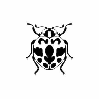 Lady beetle logo symbole conception pochoir tatouage illustration vectorielle