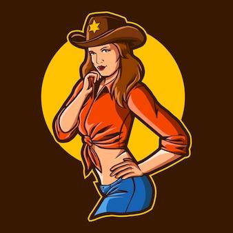 Lady cowboy sur fond sombre