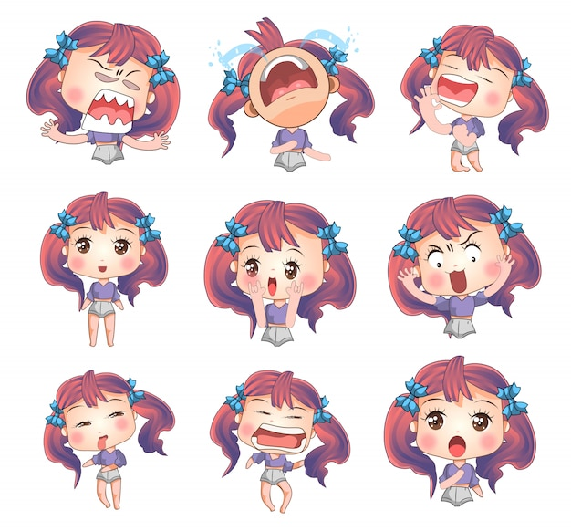 Lady face emotion vector set collection graphic clipart design