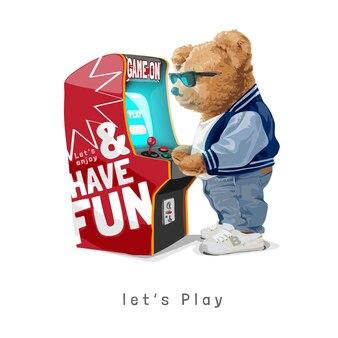 Laisse jouer le slogan avec la poupée d'ours dans des lunettes de soleil jouant l'illustration de vecteur de jeu d'arcade