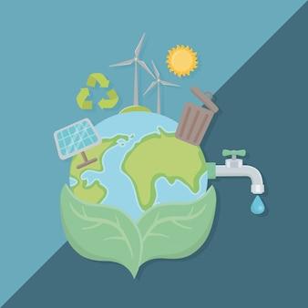 Laisse tenir la planète et économiser de l'énergie