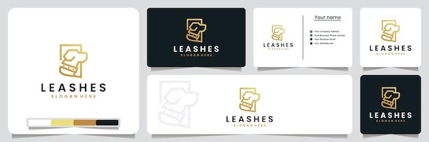 Laisses, chiens, avec style d'art en ligne et couleur or, inspiration de conception de logo
