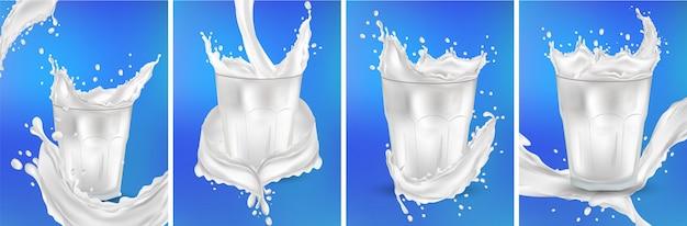 Lait dans un verre transparent. splash lait sur le fond bleu. lait de cocktail. éclaboussures de lait frais réalistes. ensemble 3d.
