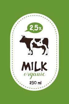 Lait d'étiquette de vecteur. vache. produits laitiers biologiques.