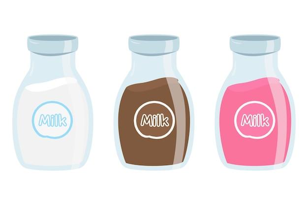 Lait frais sur ensemble de bouteilles en verre