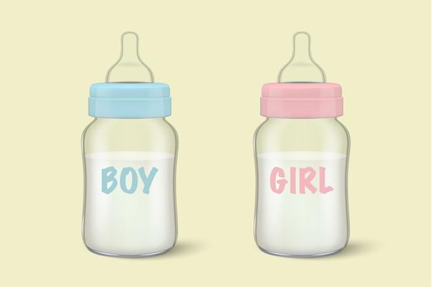 Lait maternel de bébé réaliste dans deux biberons pour garçon - bleu - et fille - rose - icon set closeup. modèle de conteneur de lait vide stérile, pour les graphiques