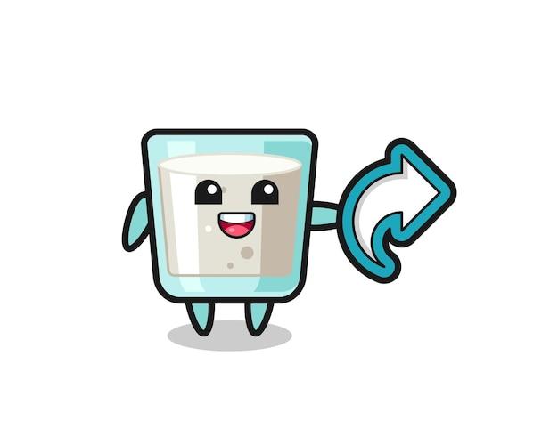 Le lait mignon tient le symbole de partage de médias sociaux, conception de style mignon pour t-shirt, autocollant, élément de logo
