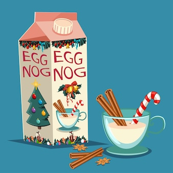 Le lait de poule de noël en carton avec cannelle, canne en sucre et un verre avec une boisson. vecteur série de friandises traditionnelles vacances isolées