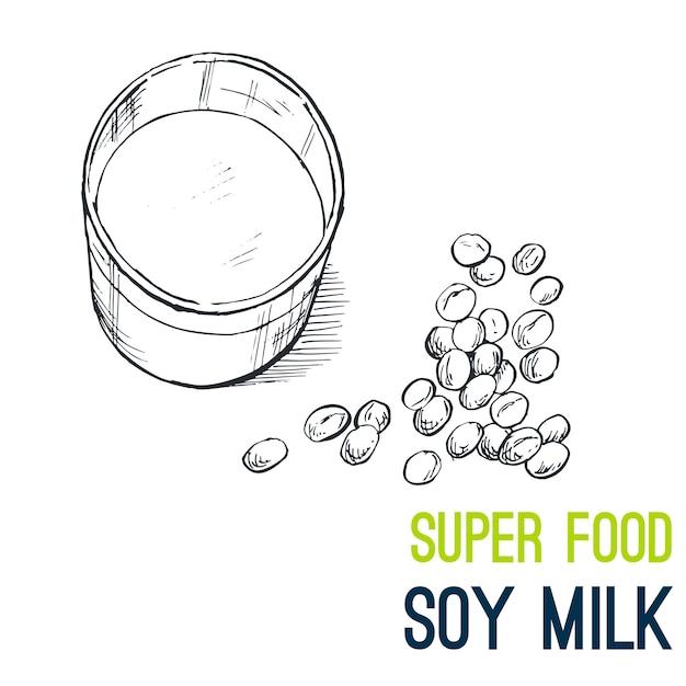 Lait de soja, super food dessiné à la main