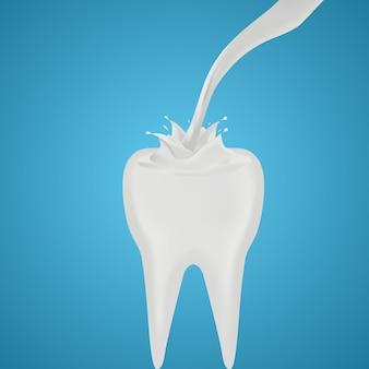 Lait versé sur la dent