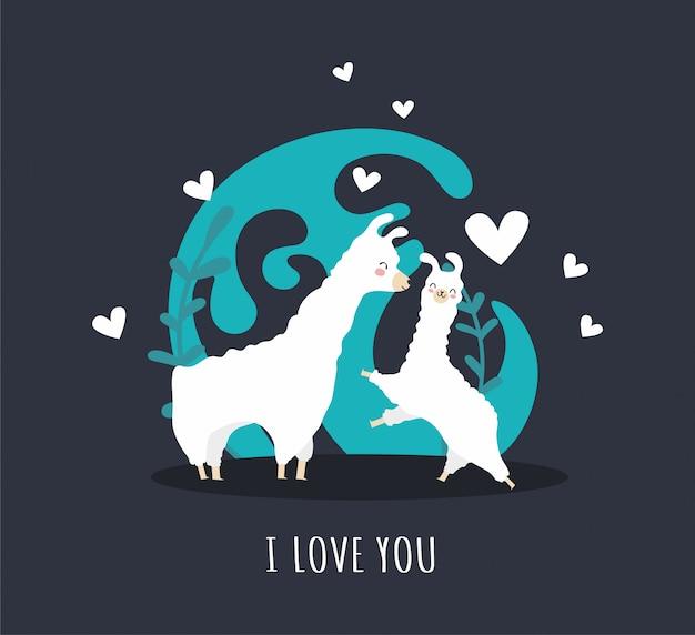 Lama avec alpaga et coeurs et de nombreux détails. je t'aime.