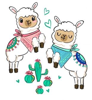 Lama blanc mignon dessiné à la main avec une écharpe et un cactus. conception d'impression pour un thème pour enfants. illustration.