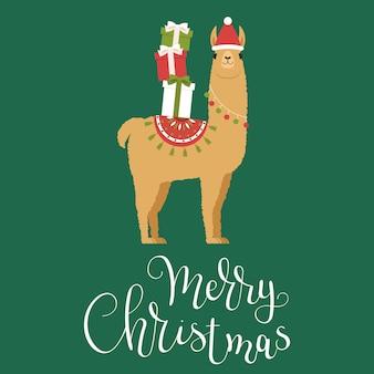 Lama brun au chapeau d'hiver avec des cadeaux de noël