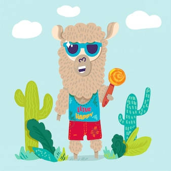 Lama cool en personnage de dessin animé plat de lunettes de soleil