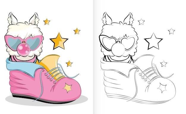 Lama de dessin animé mignon dans les chaussures. illustration en noir et blanc pour cahier de coloriage