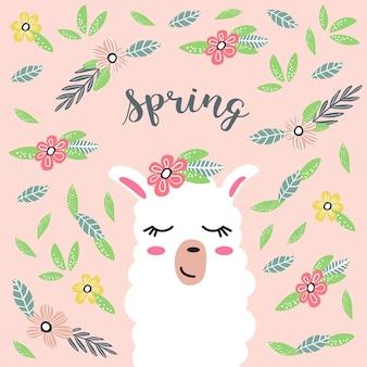 Lama de dessin animé mignon avec des fleurs. printemps.