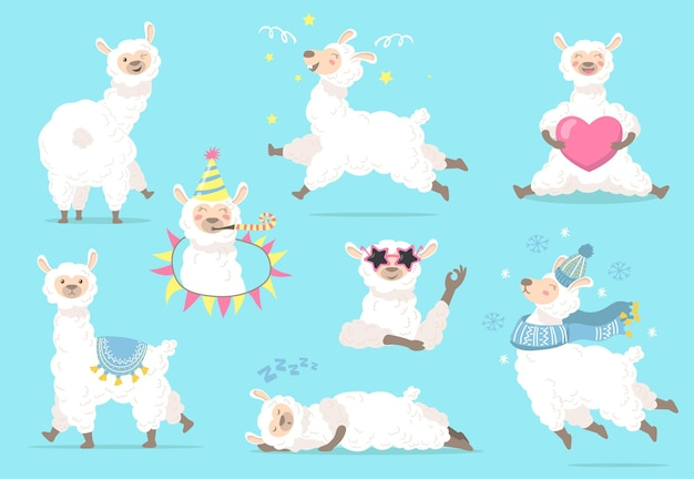 Lama drôle dans différentes poses ensemble plat.