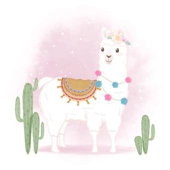 Lama mignon et cactus, illustration dessinée à la main