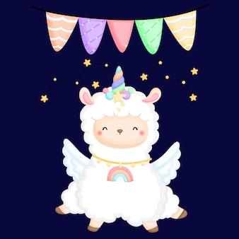 Un lama mignon avec une constellation de deux étoiles
