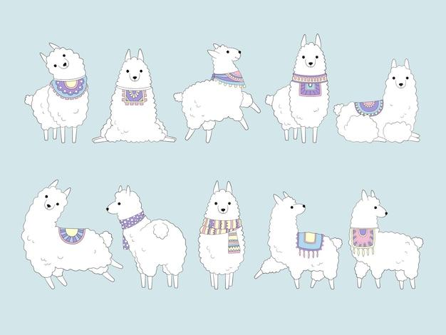 Lama mignon. dessin d'animaux drôles dans le vecteur de chameau de collection de lamas du pérou de style doodle. lama du pérou animal, illustration de laine de caractère alpaga