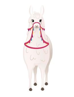 Lama mignon portant une selle décorative avec des motifs dessin animé animal design plat vector illustration isolé sur fond blanc vue de face.