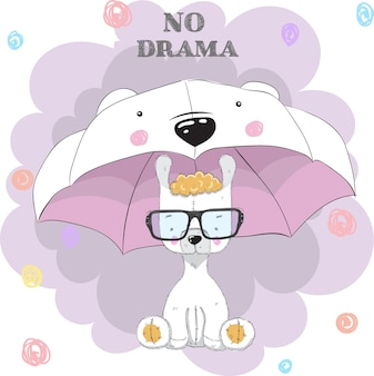 Lama mignon sous dessin animé de parapluie dessinés à la main