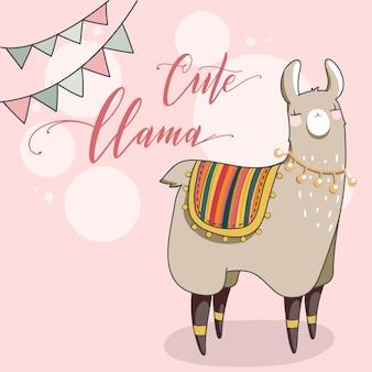 Lama mignon en style cartoon. illustration vectorielle dessinés à la main. éléments pour carte de voeux, affiche, bannières. conception de t-shirt, cahier et autocollant