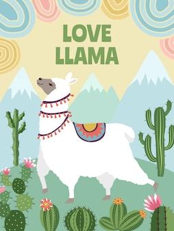 Lama, montagnes et cactus