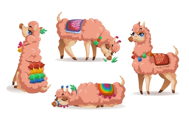 Lama, pérou et alpaga, ensemble d'animaux