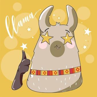Lama en style cartoon. yeux étoilés. illustration vectorielle dessinés à la main. éléments pour carte de voeux, affiche, bannières. conception de t-shirt, cahier et autocollant