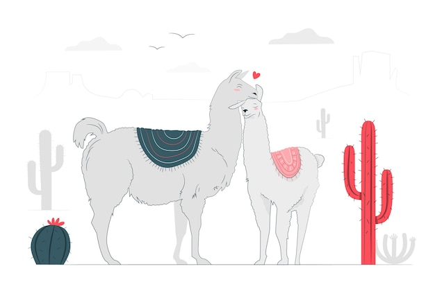 Lamas en illustration de concept d'amour