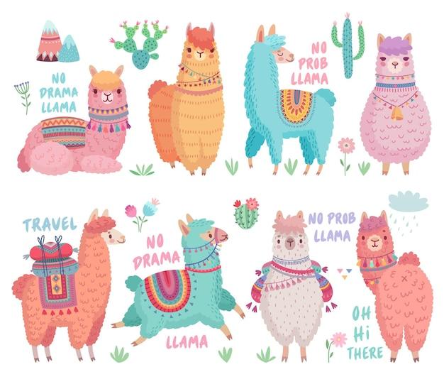 Lamas mignons avec des citations drôles personnages drôles dessinés à la main
