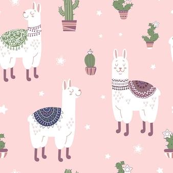 Lamas mignons dans des couvertures ethniques cactus étoiles modèle sans couture lumineux dans le style de dessin animé