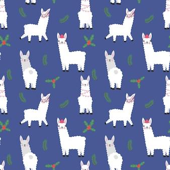 Lamas mignons avec des plantes de noël transparente motif isolé illustration vectorielle animaux drôles