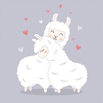 Lamas mignons pour l'invitation de carte de mariage de voeux.