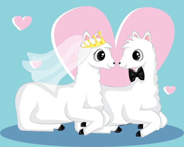 Lamas mignons pour invitation de carte de mariage