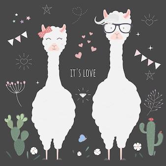 Lamas mignons pour l'invitation de mariage.