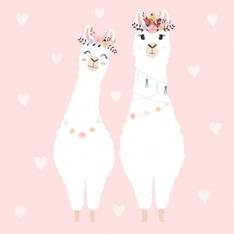 Lamas mignons pour invitation de mariage.