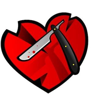 Lame de rasoir et le cœur avec des cicatrices