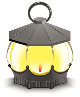 Lampadaire vintage. lanterne rougeoyante. illustration isolée au format
