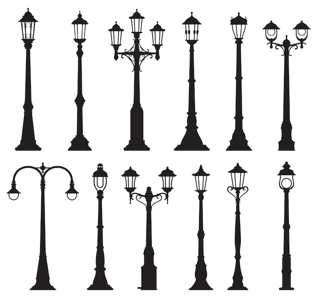 Lampadaires isolés, lampadaire vintage ou lampadaire et lanternes, icônes de silhouette vectorielle. vieux piliers de réverbère, poteaux de lanterne rétro ou lampadaires d'éclairage de la ville avec ampoules à gaz ou à incandescence