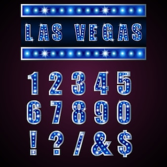 Lampe alphabets de lumière néon de bleu sur fond bleu